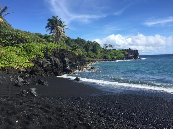 Punalu U Black Sand Beach Park At Island Hawaii